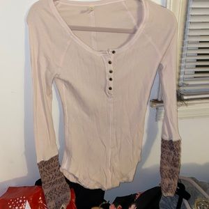 Free people thermal top s blush sweater cuffs